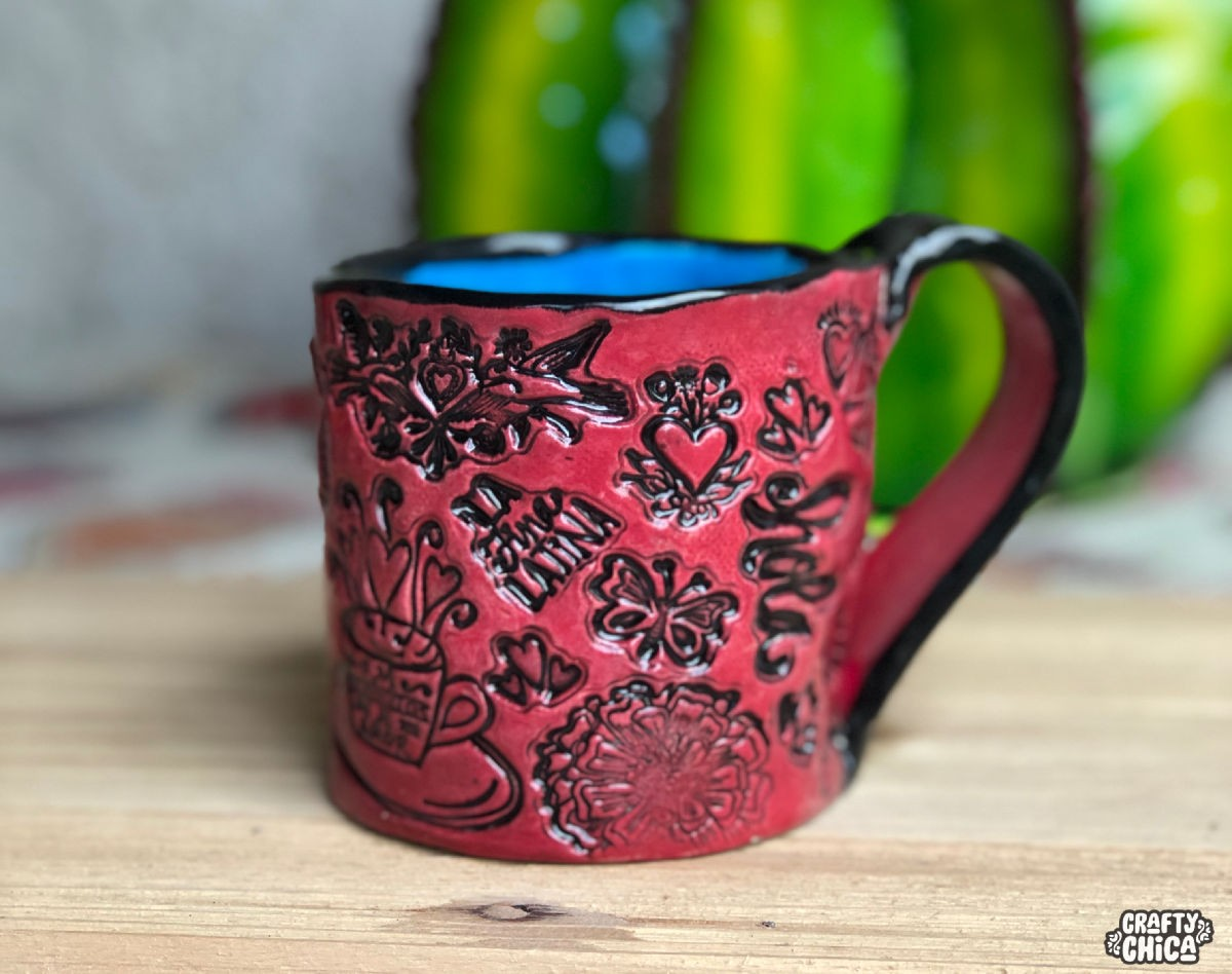 Stamped Handbuilt Clay Mugs The Crafty Chica Crafts Latinx Art Creative Motivation