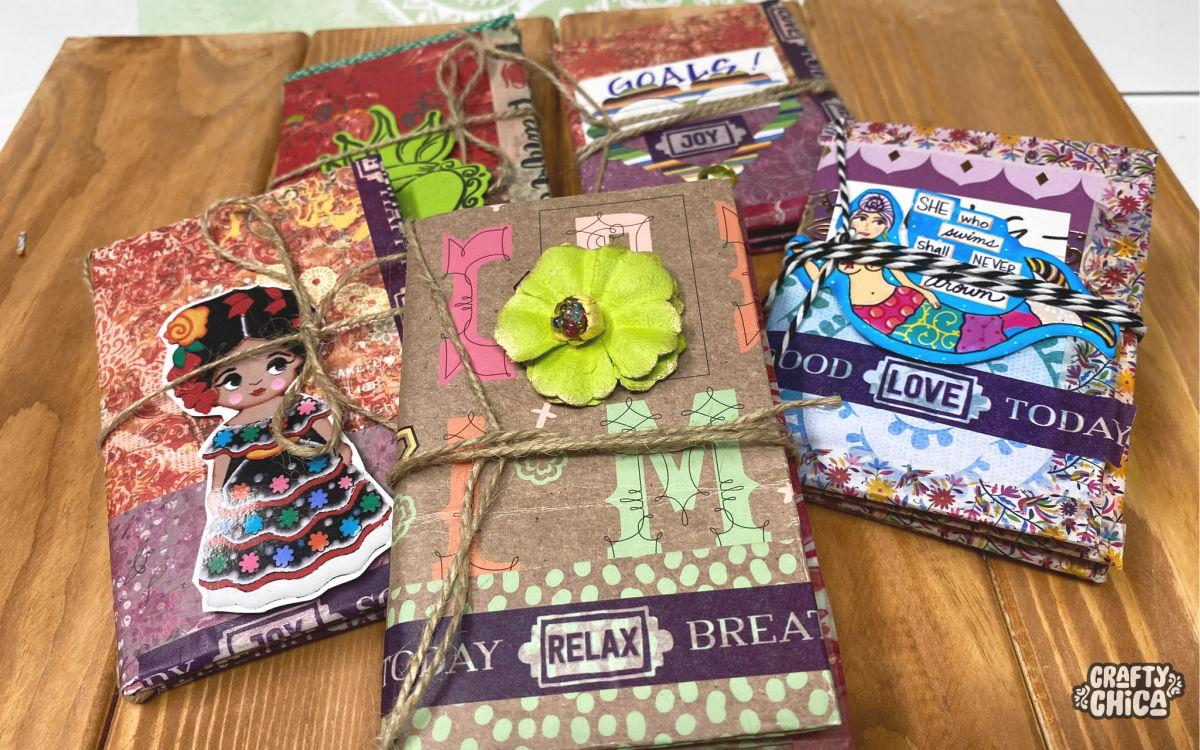 How to make scrapbook paper journals #craftychica #scrapbookpaper #bookmaking