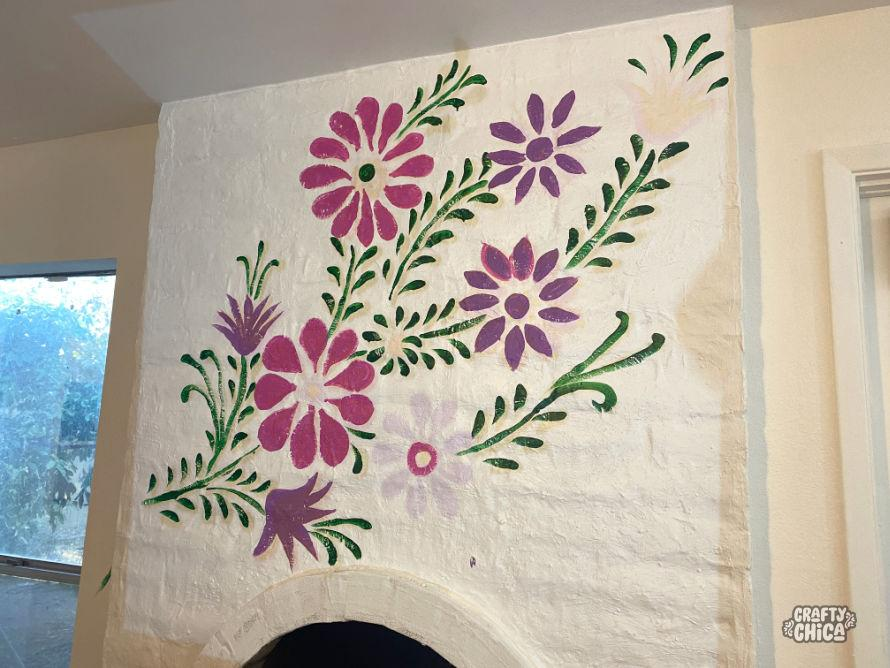 Tracing for a wall mural. DIY Mexican-Embroidery Mural