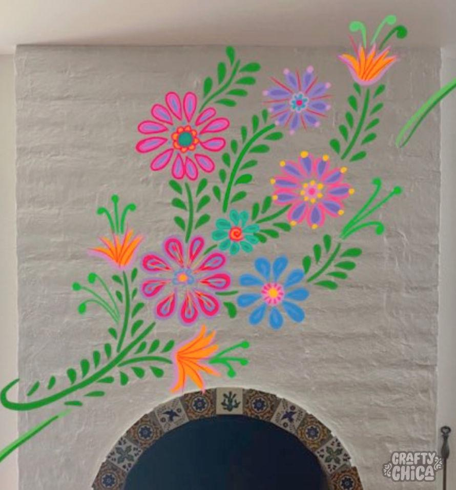 Testing a wall mural sketch. DIY Mexican-Embroidery Mural.